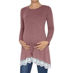 Long Sleeve Lace Hem Maternity Tunic Top Blouse Pregnant Clothes, Size:S(Pink)