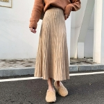 Autumn and Winter Slim High Waist Long Knit Skirt, Size:  One Size( Khaki )
