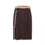 Autumn and Winter Knit Lace High Waist Skirt, Size:  One Size( Brown )