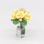 Mini Dollhouse Living Room Decoration Garden Scene Potted Roses(Yellow )