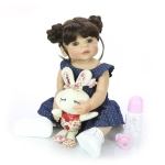 Silicone Body Lifelike Girl Baby Doll Waterproof Toy Kid Birthday Gift(Brown Eye)