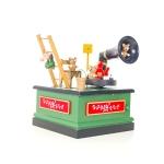 2 PCS Christmas Wooden Painted Music Box Cartoon Radio Shape Music Box Decoration(Green)
