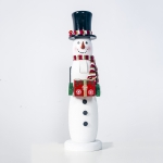 2 PCS Christmas Wood Painted Santa Doll Ornament(Black Hat Snowman )