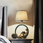 Modern Bedside Reading Statue Base Lamp Home Decoration, Light color:Remote Control Switch Dimming Bulb