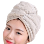 Womens Magic Quick Dry Bath Hair Drying Towel Cap Bathing Tool(Khaki)