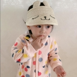 Summer Children Pasteable Cartoon Rabbit Ear Shape Straw Weaving Sun Hat Visor Cap, Size:Adjustable(White)