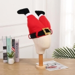 Christmas Party Santa Claus Leg Pants Plush Cap Decoration