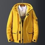 Men Winter Thick Snow Parka Overcoat White Duck Down Jacket, Size:M(Yellow)