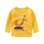 Long Sleeves T-Shirts Cotton Cartoon Car Shirt Baby Clothes, Kid Size:90cm(Yellow)