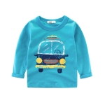 Long Sleeves T-Shirts Cotton Cartoon Car Shirt Baby Clothes, Kid Size:100cm(Blue)