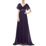 Evening Dresses Padded Trailing Flutter Summer Style Dresses, Size:L(Purple)