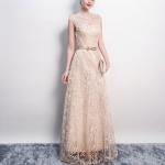 Banquet Lace Sleeveless  Long Party Formal Gown, Size:S(Champagne)