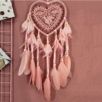 Creative Hand-Woven Crafts Dream Catcher Home Car Wall Hanging Decoration, Type:Without Light(Light Pink)