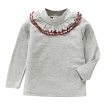Spring Girls Solid Color Lace Round Neck Bottoming Shirt Children Clothing, Height:130cm(Grey)