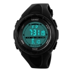 SKMEI 1074 Multifunctional Female Outdoor Fashion Waterproof Large Dial Silicone Watchband Wrist Watch (Black)
