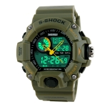 SKMEI 1029 Multifunctional Men Outdoor Sports Noctilucent Waterproof Double Display Watch(Army Green)