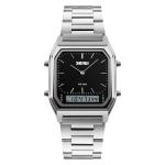 SKMEI 1220 Multifunctional Men Outdoor Business Noctilucent Waterproof Double Display Steel Watchband Wrist Watch (Black)