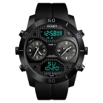 SKMEI 1355 Multifunctional Men Outdoor Sports Noctilucent Waterproof Large Dial Wrist Watch (Black)