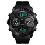 SKMEI 1355 Multifunctional Men Outdoor Sports Noctilucent Waterproof Large Dial Wrist Watch (Black)