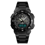 SKMEI 1370 Multifunctional Men Outdoor Sports Noctilucent Waterproof Stainless Steel Digital Wrist Watch (Black)