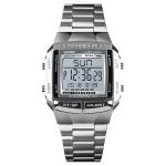 SKMEI 1323 Multifunctional Men Outdoor Business Sport Noctilucent Waterproof Digital Wrist Watch(Silver)