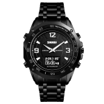 SKMEI 1464 Multifunctional Men Outdoor Business Sports Waterproof Steel Strap Double Display Digital Watch(Black)