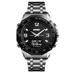 SKMEI 1464 Multifunctional Men Outdoor Business Sports Waterproof Steel Strap Double Display Digital Watch(Silver)