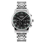 SKMEI 9121 Multifunctional Outdoor Fashion Business Waterproof Steel Strap Quartz Wrist Watch (Black)