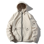 Hooded Loose Casual Jacket Print Tooling Jacket for Men (Color:Beige Size:XXXL)