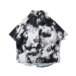 Ink Painting Loose Shirt for Men(Color:Black Size:XXL)