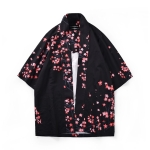 Digital Print Kimono Loose Seven-point Sleeve Shirt for Men and Women (Color:11001# Size:L)