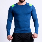 SIGETU Men Long-sleeved Quick-drying Stretch Sportwear (Color:Blue Size:S)
