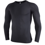 SIGETU Men Quick-drying Breathable Long-sleeved Sportswear (Color:Black Size:XXXL)