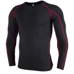 SIGETU Men Quick-drying Breathable Long-sleeved Sportswear (Color:Black Red Size:L)