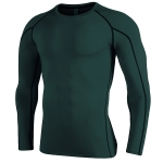 SIGETU Men Quick-drying Breathable Long-sleeved Sportswear (Color:Dark Green Size:XL)