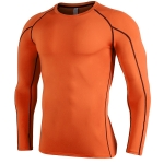 SIGETU Men Quick-drying Breathable Long-sleeved Sportswear (Color:Orange Size:XXXL)