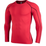 SIGETU Men Quick-drying Breathable Long-sleeved Sportswear (Color:Red Size:S)