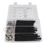 380 PCS Car / Boat AWG Gauge Non-Insulated Butt Connectors Ferrule Cable Crimp Terminal + Heat Shrinkable Tube Kit