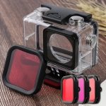 For DJI Osmo Action Underwater Waterproof Housing Diving Case Kits with Pink / Red / Purple Lens Filter