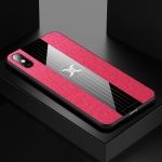 For iPhone X / XS XINLI Stitching Cloth Textue Shockproof TPU Protective Case(Red)