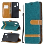 For Galaxy A10s Color Matching Denim Texture Horizontal Flip Leather Case with Holder & Card Slots & Wallet & Lanyard(Green)