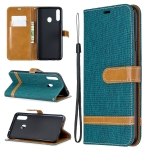 For Galaxy A20s Color Matching Denim Texture Horizontal Flip Leather Case with Holder & Card Slots & Wallet & Lanyard(Green)