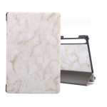 For Galaxy Tab S6 10.5 T860 Marble Texture Pattern Horizontal Flip Leather Case, with Three-folding Holder & Sleep / Wake-up Function(Grey)