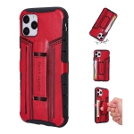For iPhone 11 Four-Corner Shockproof Paste Skin TPU Protective Case with Card Slots(Red)