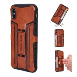 For iPhone XS / X Four-Corner Shockproof Paste Skin TPU Protective Case with Card Slots(Brown)