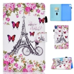 For Huawei MediaPad M6 10.8 Colored Drawing Stitching Horizontal Flip Leather Case, with Holder & Card Slots(Flower Tower)