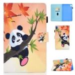 For Huawei MediaPad M6 8.4 Colored Drawing Stitching Horizontal Flip Leather Case, with Holder & Card Slots(Panda)