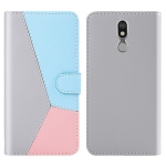For LG K40 Tricolor Stitching Horizontal Flip TPU + PU Leather Case with Holder & Card Slots & Wallet(Grey)