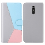 For LG Q Stylo 4 / Q8 Tricolor Stitching Horizontal Flip TPU + PU Leather Case with Holder & Card Slots & Wallet(Grey)