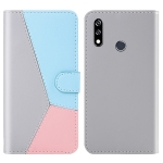 For LG W10 Tricolor Stitching Horizontal Flip TPU + PU Leather Case with Holder & Card Slots & Wallet(Grey)